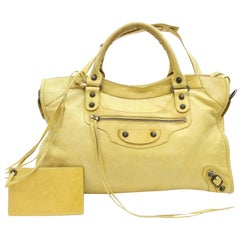 Balenciaga City 2way 867661 Yellow Leather Shoulder Bag