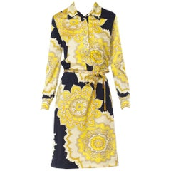 1960S LEONARD Yellow & Black Polyester Jersey Mod Printed Dress