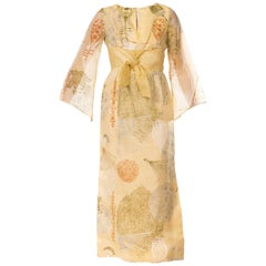1970s XL Alfred Shaheen Asian Fan Printed Dress