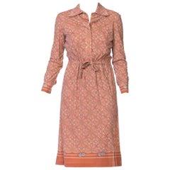 1970s Hermès Silk Jersey Equestrian Status Print Shirt Dress