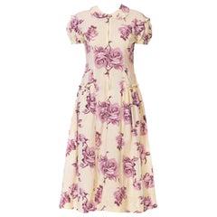 1940s Floral Cotton House Dress Size L