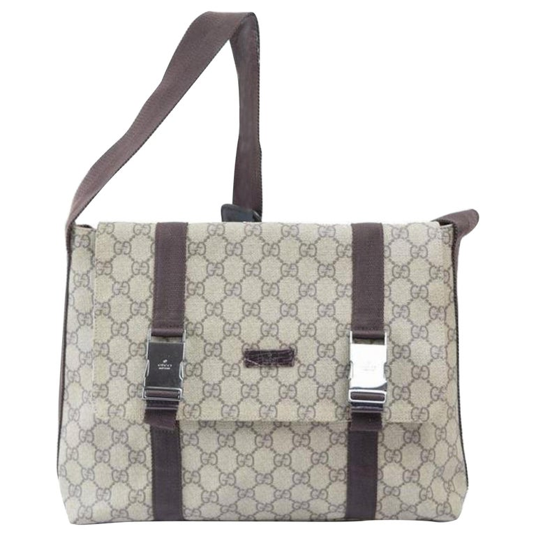 4640d839dd13 Gucci Supreme Monogram Buckle Messenger 868796 Brown Coated Canvas Cross  Body Ba For Sale