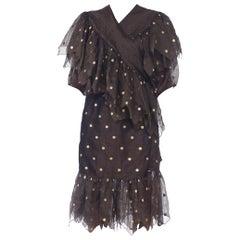 1980S Laura Biagiotti Earth Tone Silk Lurex Ruffled Wrap Dress