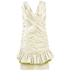 1980s Nina Ricci Off-White Silk Dress