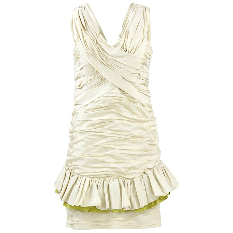 1980s Nina Ricci Off-White Silk Dress For Sale