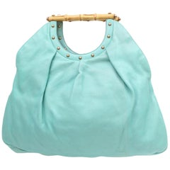 Gucci Bamboo Studded 868778 Blue Leather Hobo Bag