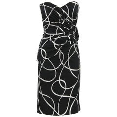 1980s Murray Arbeid Black and Silver Strapeless Dress