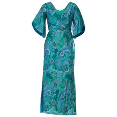 1960S STAN HICKS Blue Cotton Sateen Maxi Dress Made In Hawaii