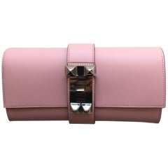 Hermes Rose Sakura Medor Clutch in Tadelakt