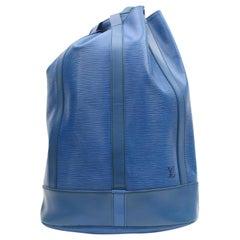 Louis Vuitton Randonnee Epi Tolede Gm Backpack Hobo 868623 Blue Leather Shoulder