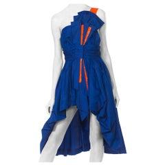 Reworked 1950s Silk Taffeta High-Low Bow Dress 1980s style
