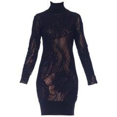 1990S JEAN PAUL GAULTIER Black Bronze Metallic Stretch Lace Dress
