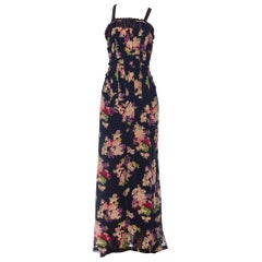 1930s Floral Silk & Cotton Net Gown