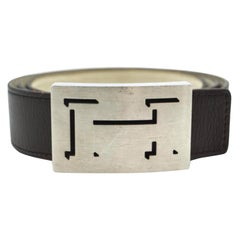 Hermès Dark Brown Lucky Outline Shadow Reversible H Logo Kit 867956 Belt