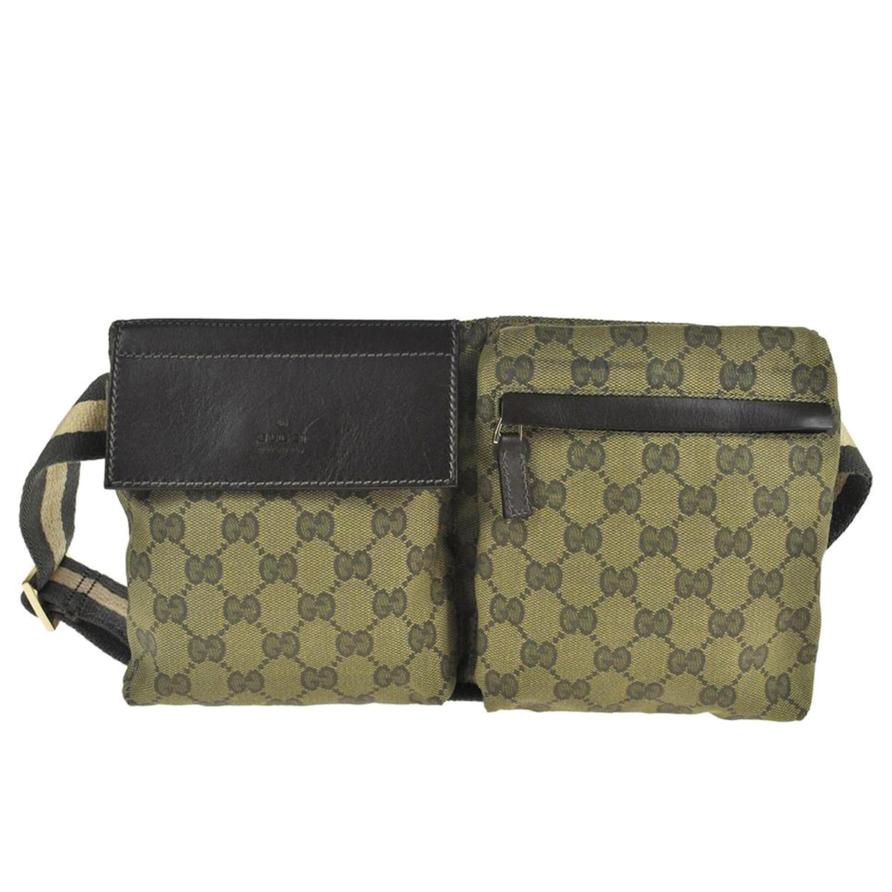 206a361e4bd Gucci (Ultra Rare) Monogram Web Khaki Gg Fanny Pack Waist Pouch 868028  Green Can For Sale at 1stdibs