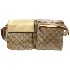 7c1c8f66d005 Gucci Cystal Monogram Gg Waist Pouch Fanny Pack 868117 Gold Coated Canvas  Cross