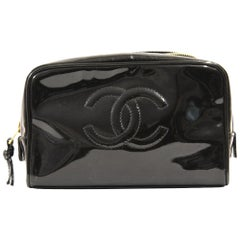 2000s Chanel Black Patent Leather WashBag