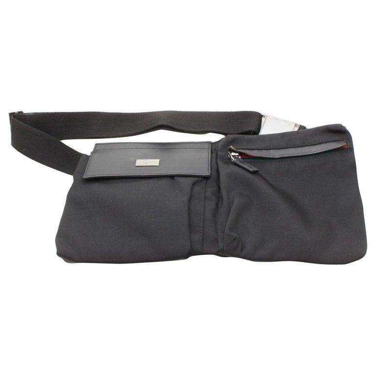 2cc3e13eb05669 Gucci Sherry Web Fanny Pack Waist Pouch 868544 Black Nylon Cross Body Bag  For Sale