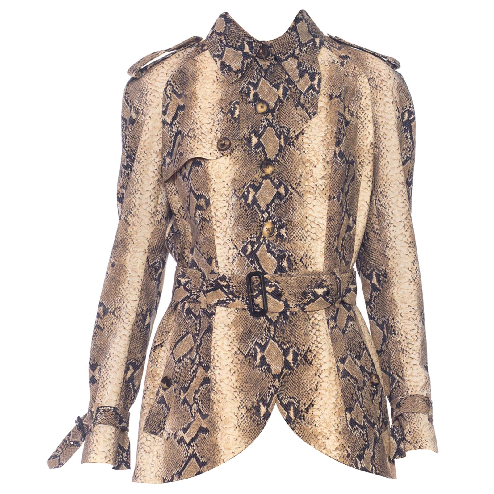 1990S JOHN GALLIANO Deadstock NWT Snake Snakeskin Print Light-Weight Wool Jacket