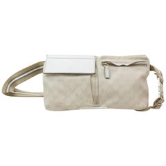 Gucci Monogram Signature Belt Fanny Pack 868779 White Canvas Cross Body Bag