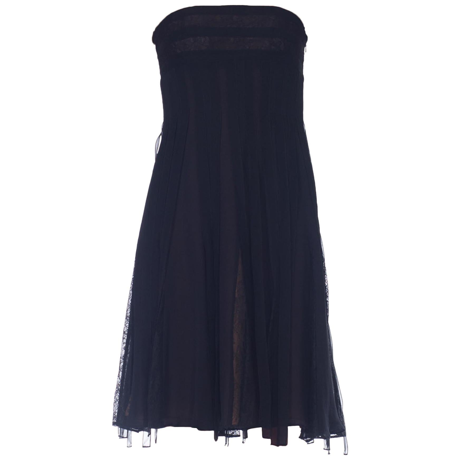 1990S CARMEN MARC VALVO Black Strapless Silk Chiffon & Lace Carwash Skirt Cockt