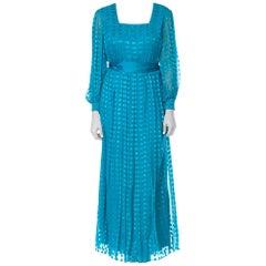 1970s Richilene Silk Chiffon Lurex Dress