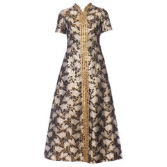 1960s Lisa Meril Gold Brocade Gown with Metal Braid & Studs