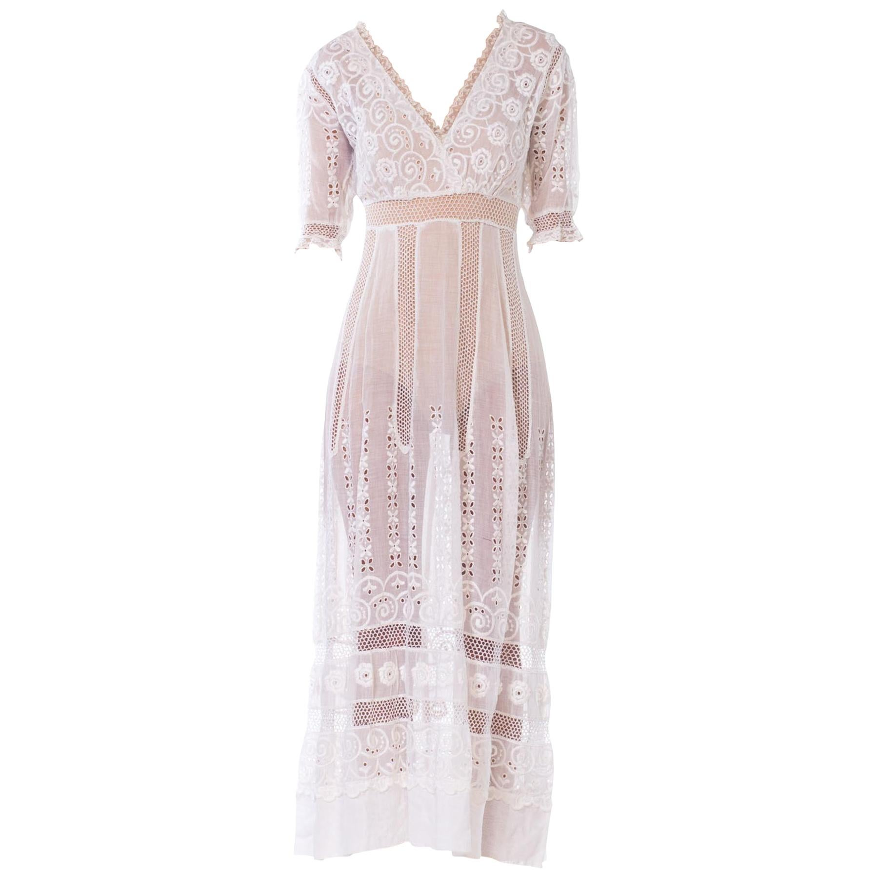 f3d5e0a063ec Edwardian Embroidered Organic White Cotton and Lace Tea Dress For Sale at  1stdibs