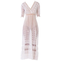Edwardian Embroidered Organic White Cotton & Lace Tea Dress