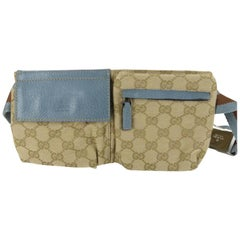 03100d5969402a Gucci Blue Monogram Gg Fanny Pack Waist Pouch Belt 869510 Brown Coated  Canvas Cr