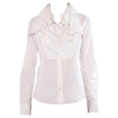 1990S Viktor & Rolf White Cotton Iconic Multi Collar Shirt