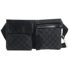 Gucci Monogram Gg Belt Fanny Pack Waist Pouch 869604 Black Canvas Cross Body Bag