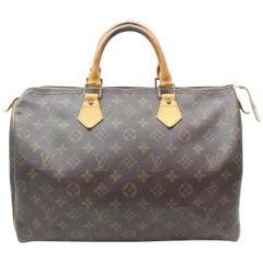 Louis Vuitton Speedy Monogram 35 Mm 869379 Brown Coated Canvas Satchel