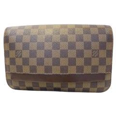 Louis Vuitton Pochette Damier Ebene Saint Clutch 869640 Brown Coated Canvas Wris