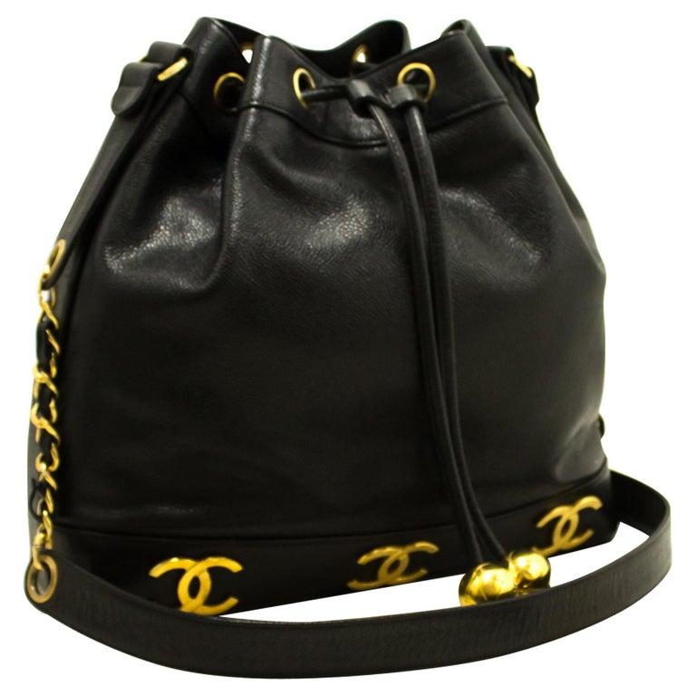 cf93e5c7bdd401 CHANEL Caviar Drawstring Chain Shoulder Bag Black Triple Coco at 1stdibs