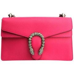 Gucci Pink Leather Shoulder Dionysus Bag