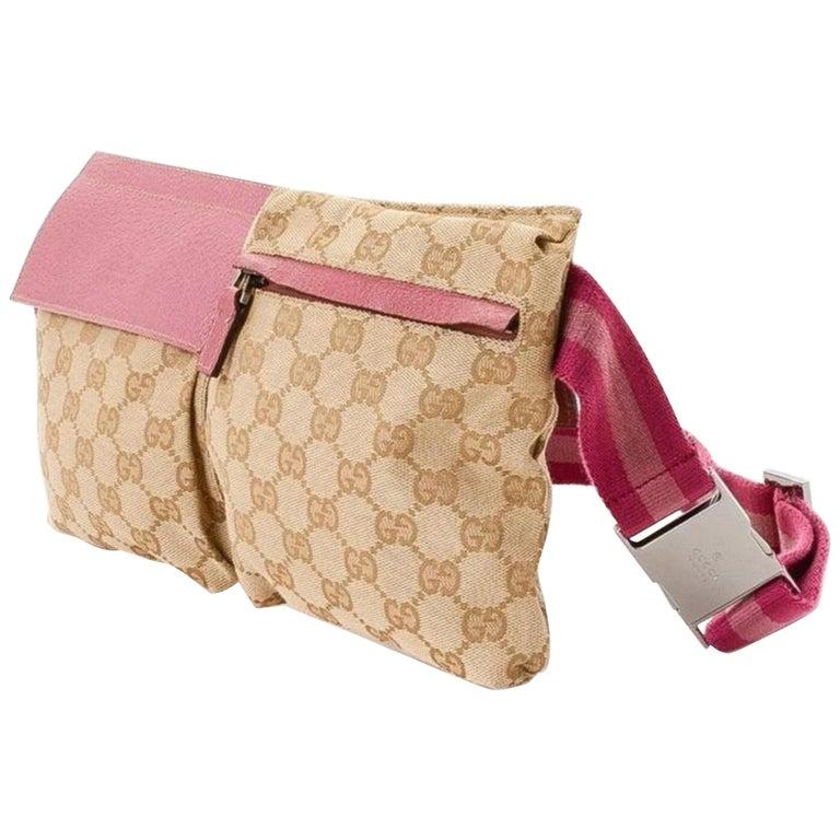 eab104e3342b Gucci Monogram Gg Fanny Pack Waist Pouch 868096 Pink Canvas Cross Body Bag  For Sale