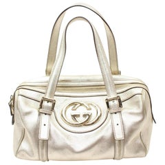 Gucci Boston Metallic Dialux Britt Medium 869030 Gold Leather Shoulder Bag