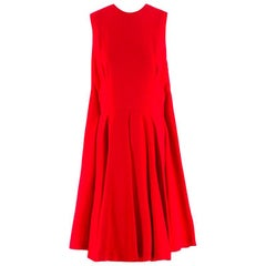 Alexander Mcqueen Red Pleated Playsuit US 8