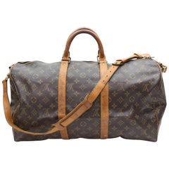Louis Vuitton Keepall Monogram Bandouliere 50 867974 Brown Coated Canvas Weekend
