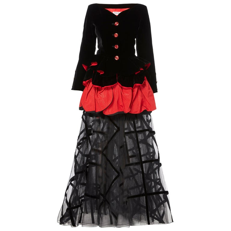 Yves Saint Laurent, two-piece flared skirt set, circa 1996 For Sale