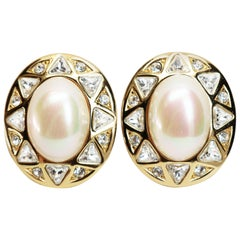 Christian Dior Pearl and Crystal Earrings