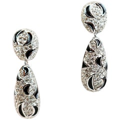 Christian Dior Black Crescent Moon Silver Earrings