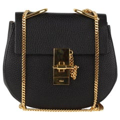 Chloe Black Leather Drew Crossbody Messenger Bag