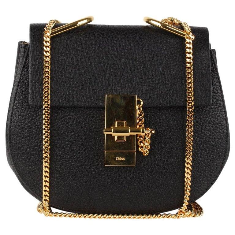 Chloe Black Leather Drew Crossbody Messenger Bag