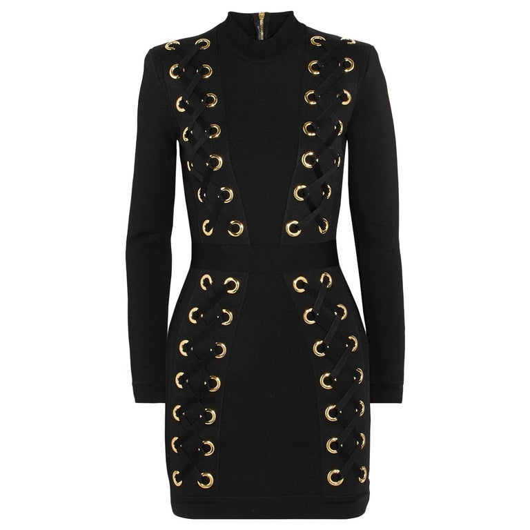 7d03a679344 Balmain Lace-Up Stretch-Jersey Mini Dress For Sale at 1stdibs
