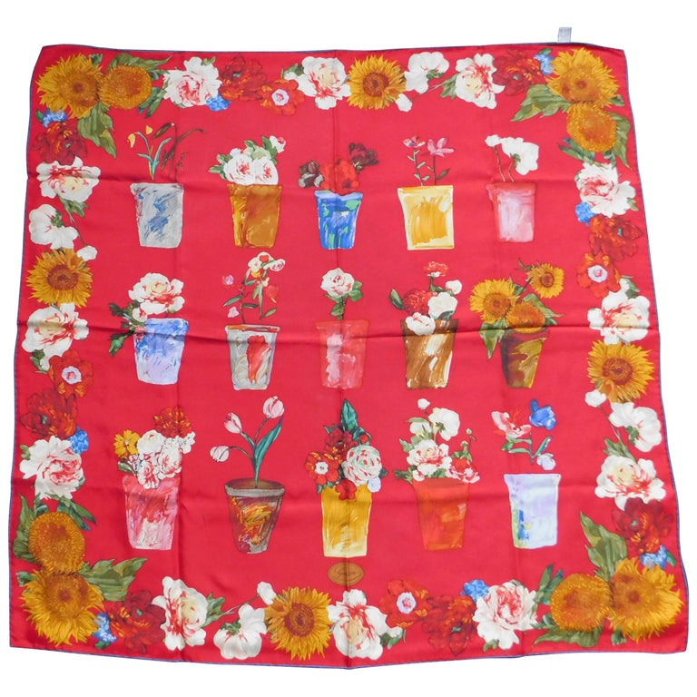 Gucci Red and Blue Scarf with Flowerpots and Van Gogh-esque Sunflowers, 1990  For Sale