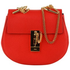 Chloe Red Leather Drew Crossbody Messenger Bag