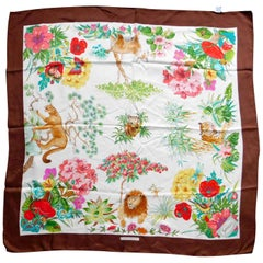 "Gucci VintageSilk Scarf ""I Continenti"" Foliage and Wildlife with Brown Border"