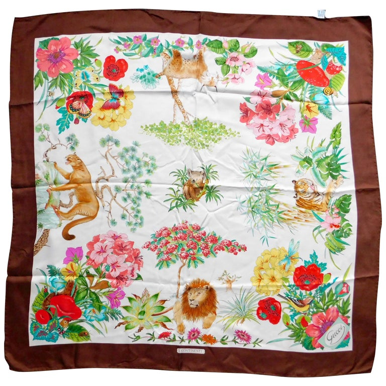 """Gucci VintageSilk Scarf """"I Continenti"""" Foliage and Wildlife with Brown Border   For Sale"""